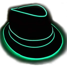 Premium Light Up Fedora Hat, Uses High Quality EL Wire