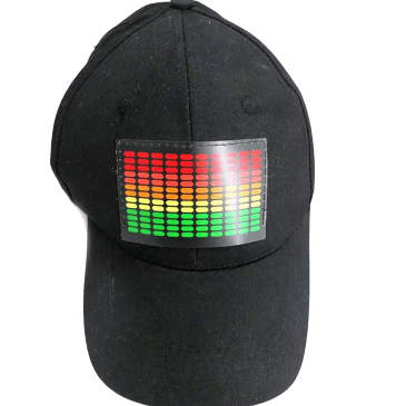 DJ LED Flashing Sound Activated Equalizer E-Q Rave Light Up Disco Hat Cap (One Size)