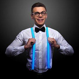 Blue LED Light Up Suspenders