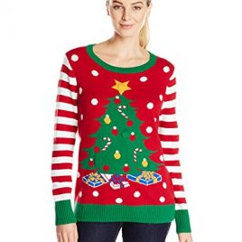 Ugly Christmas Sweater Women's Christmas Tree LIGHT-UP Crew Pullover Sweater, Cayenne, Medium