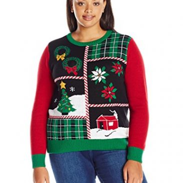 Ugly Christmas Sweater Women's Plus Size Patchwork Lig
