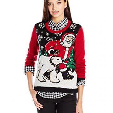 Ugly Christmas Sweater Juniors Light-Up Santa and Polar Bear Pullover