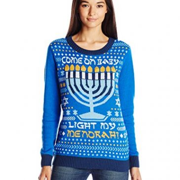 Ugly Christmas Sweater Women's Light-Up Light My Menorah