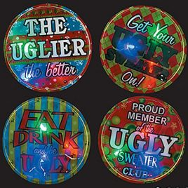 Ugly Christmas Sweater Accessory Must Have! Set of 4 Ugly Sweater Light-Up Badges