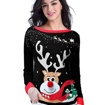 Women's Ugly Christmas Sweater, V28 Ladies Girls Cute Reindeer 3D Nos