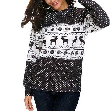 Christmas Pullover Long Sleeve Off Shoulder Sweatshirt Tops