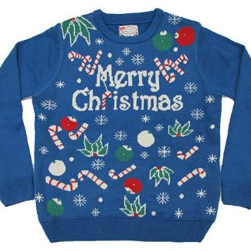 Fashion Light Up Blue Christmas Sweater Candy Cane Long Slee