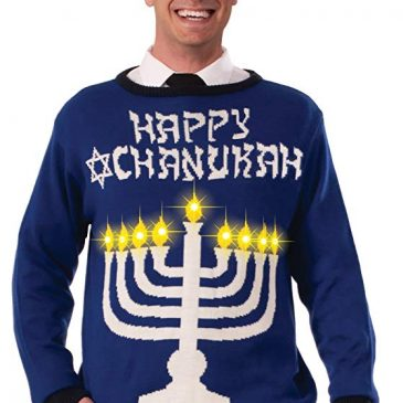 Ugly Chanukah Light Up Menorah Sweater XL