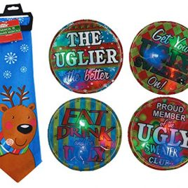 Novelty Ugly Christmas Sweater Reindeer Inspired Musical Christmas Tie Assortment, 56″ Plays Jingle Bells At the Push of a Button! Plus Bonus Ugly Sweater Flashing Light Button!
