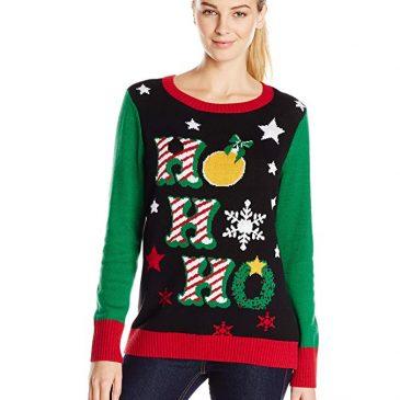 Ugly Christmas Sweater Women's Ho Ho Ho Light-Up Crew-