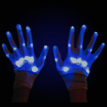 blue light up gloves