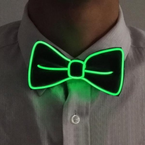darkgreen-el-wire-bow-tie